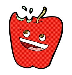 happy apple comic cartoon vector image