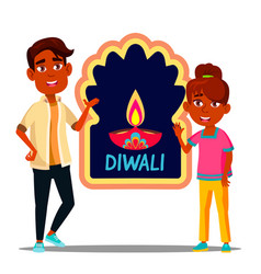 happy indian children in turban with diwali banner vector image