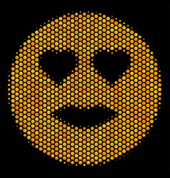 hexagon halftone lady love smiley icon vector image