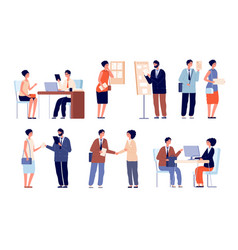 Hr employer interview business team and office vector
