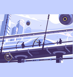Hyperloop future public transport vector