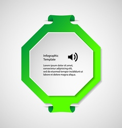 Infographic template with green octagon shape vector image