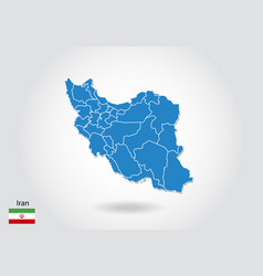 Iran map design with 3d style blue iran map and vector