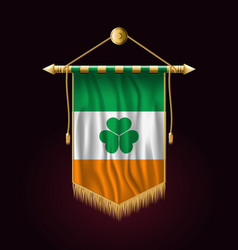 Ireland flag with shamrock festive vertical vector
