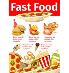 junkfood snacks fast food menu poster vector image