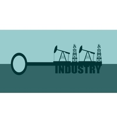 Key with industry word and mining equipment icons vector image