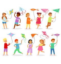 Kids kite child character boy or girl vector