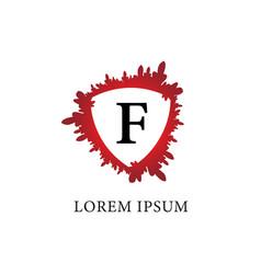 Letter f alphabet logo design template splash of vector