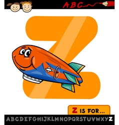 Letter z with zeppelin cartoon vector