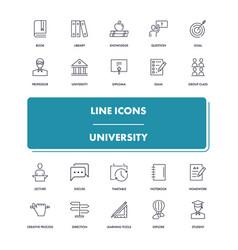 Line icons set university vector