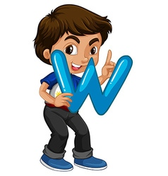 Little boy holding letter W vector image