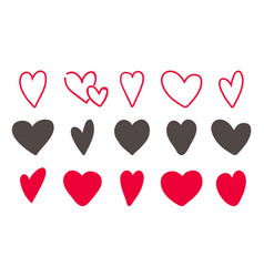love hearts icon set hand drawn lovely red and vector image