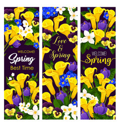Lovely spring time blooming flowers banners vector