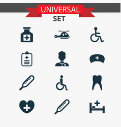medicine icons set collection of healer vector image