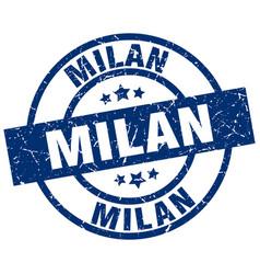 Milan blue round grunge stamp vector