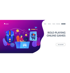Mmorpg concept landing page vector