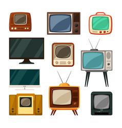 Modern and tube retro televisions set plasma vector