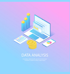 modern web isometric data analysis vector image