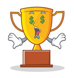 Money eye trophy character cartoon style vector