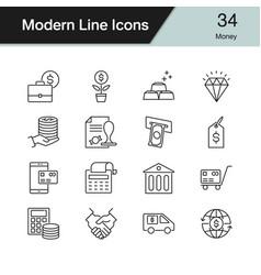 Money icons modern line design set 34 for vector