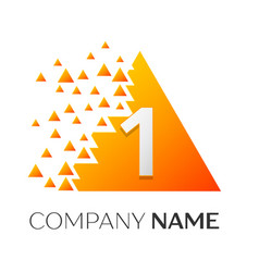 number one symbol on colorful triangle vector image