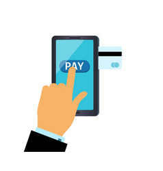Online payment hand presses pay button on the vector