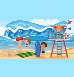 people on summer holiday vector image