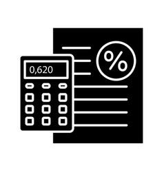 Percentage calculator glyph icon vector