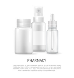pharmacy poster nasal spray and container capsule vector image