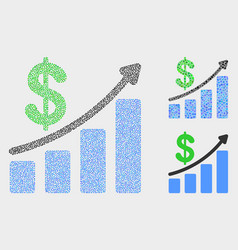 Pixelated profit up trend chart icons vector