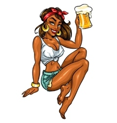 Pretty Pin Up Girl holding beer mug vector