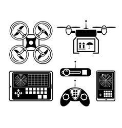 quadrocopter or drone icon set vector image