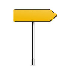 realistic yellow road sign in arrow shape - blank vector image