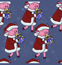 santa pig with gifts pattern vector image