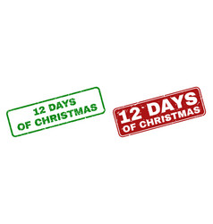 Scratched 12 days of christmas stamp seals with vector