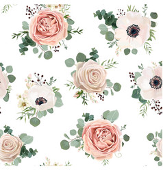 Seamless floral watercolor pattern design vector