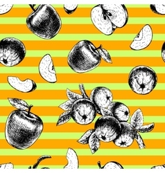 Seamless pattern with apples sketch vector image