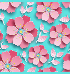 seamless pattern with cutting sakura blossom vector image