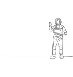 single continuous line drawing astronaut stands vector image