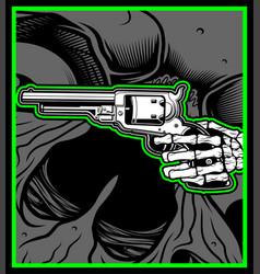 skull hand hold uzi gun vector image