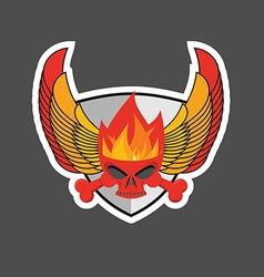Skull with flames on the shield and wings Heraldry vector