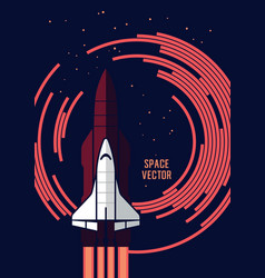 Space shuttle and rockets vector