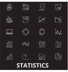 statistics editable line icons set on black vector image