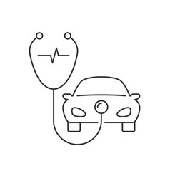 Stethoscope and car linear icon on white vector