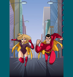 superhero couple running in city vector image