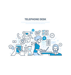 Telephone desk workplace workflow office room vector