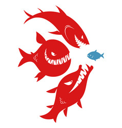 three danger big fishes and one small fish vector image