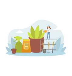 tiny young woman watering houseplant with can vector image