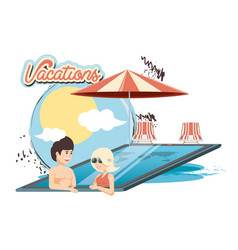 Vacations couple in the pool icon vector