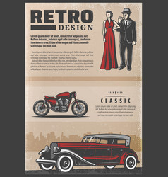 Vintage colored retro poster vector